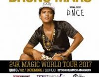 Bruno Mars arriba este sábado a Quito