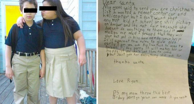 La conmovedora carta de un niño que su hermana deje de ser víctima del bullying