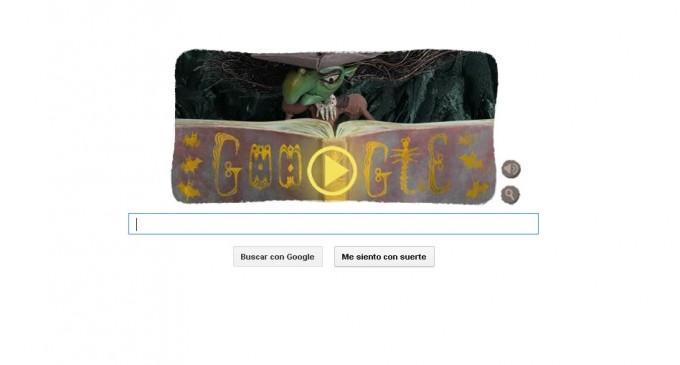 La bruja de Halloween hechiza el 'doodle' de Google