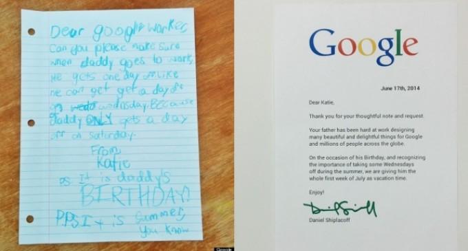 Una niña envía una carta al jefe de su padre en Google y este le da una semana libre