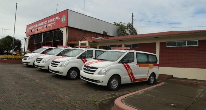 CUATRO NUEVAS AMBULANCIAS EN EL CUERPO DE BOMBEROS MUNICIPAL DE BABAHOYO