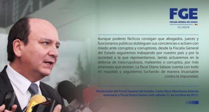 Fiscalía de Ecuador condena amenazas de muerte contra fiscal Diana Salazar