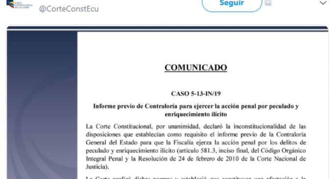 Fiscalía podrá investigar delitos de peculado y enriquecimiento ilícito sin la necesidad de un informe previo de Contraloría.