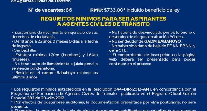 NUEVA CONVOCATORIA PARA AGENTES CIVILES DE TRÁNSITO